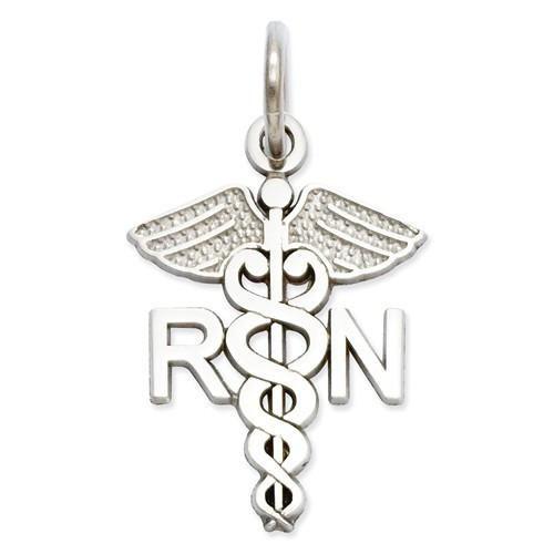 14k White Gold RN Nurse Charm