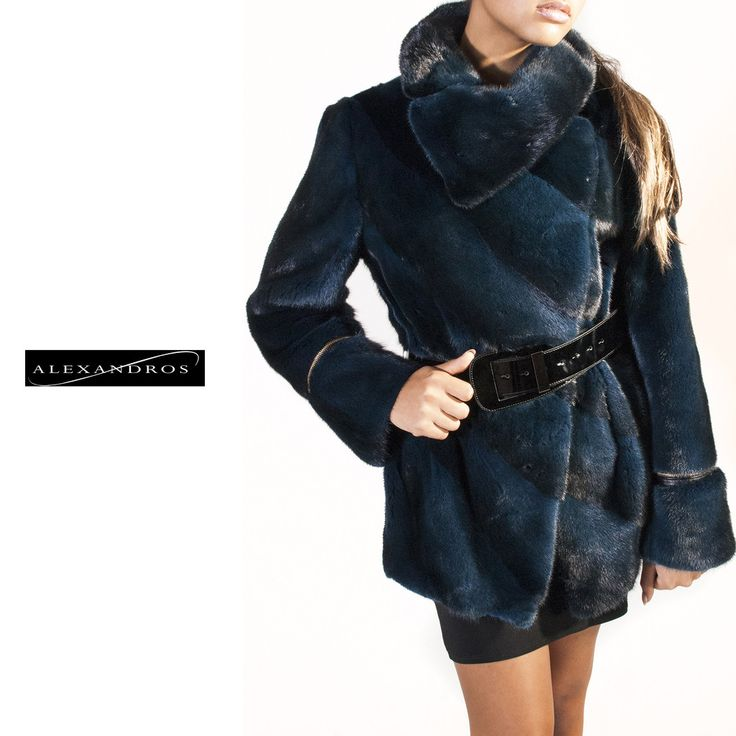 Diagonal Belted Sheared Mink Jacket - Navy-Black