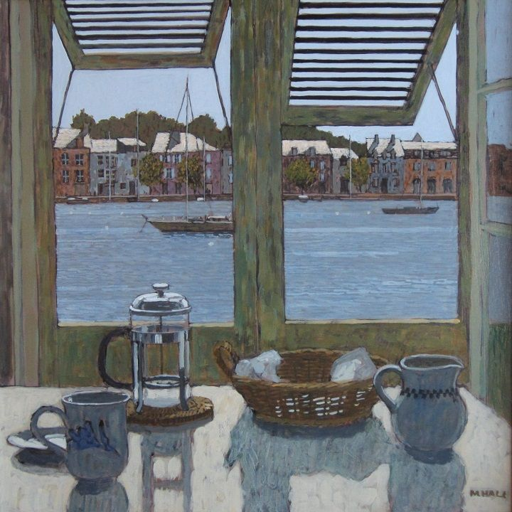 View Across the Harbour Medium: Acrylic Dimensions: 44 x 44 cms Price: £1,250