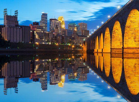 Stone Arch Bridge Wall Art Minneapolis Skyline Minnesota Wall
