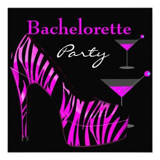 Bachelorette Party Shoes Pink Black Zebra Shoes Announcement