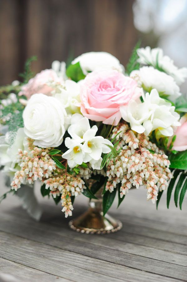 Lush Spring Centerpiece in Pink and White | Tonie Christine Photography | See More! http://heyweddinglady.com/vintage-spring-anthropologie-inspired-bridal-shower/