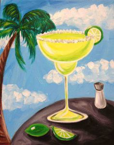 Margarita time! Be transported to the tropics and enjoy painting a margarita at the beach with a lime and salt shaker on the side.