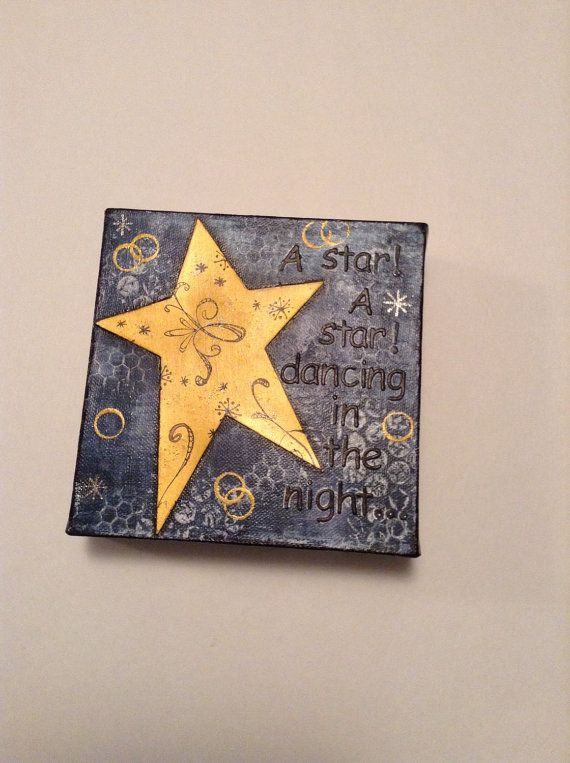 Christmas Mixed Media Canvas A Star 6x6 by fluttersofwhimsy