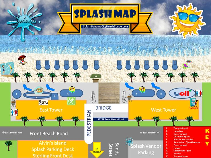 Splash Resort Map   SPLASH! Resort Panama City Beach Florida Condo