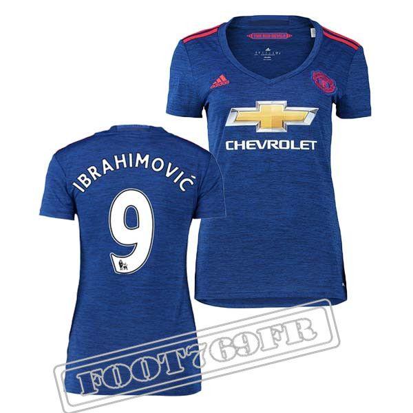 Promo Maillot Du Ibrahimovic 9 Manchester United Femme Bleu 16/17 Exterieur : Premier League