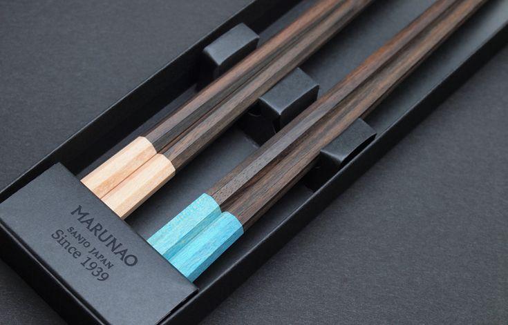 マルナオ 上八角箸(WPC+黒檀/白&青) /夫婦セット