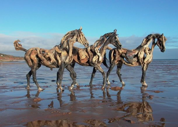 Heather Jansch, Sculptor ~ Boys Day Out: Driftwood sculpture on the Devon coast. Amazingly talented!!