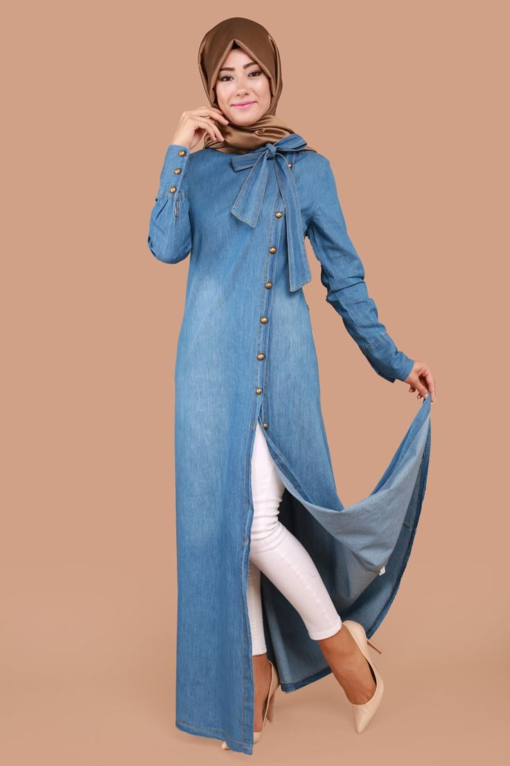 ** KOT MODASI ** Yandan Düğmeli Fularlı Kot Elbise Açık Kot Ürün Kodu: MSW8140-S--> 59.90 TL