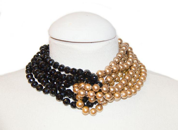Perla de cristal dorada con cristal de roca negro