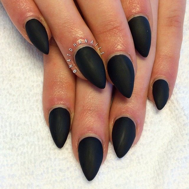 black matte pointy nails | nails | Pinterest | Pointy nails, Black ...