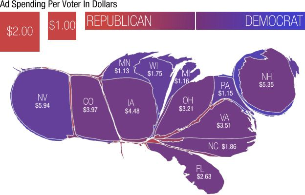 Squint and you can see Texas: state size based on political ad spending by outside groups on presidential race per voting age adult.