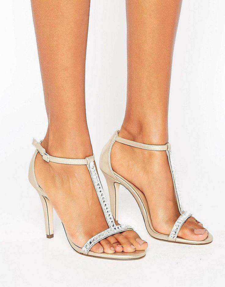 Call It Spring Jerirwen Embellished T Bar Heeled Sandals - Gold