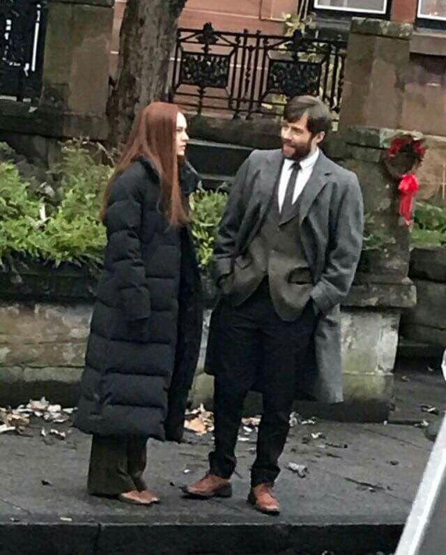 Sophie Skelton and Rik Rankin on the Season 3 Outlander set in Glasgow - November 18th, 2016