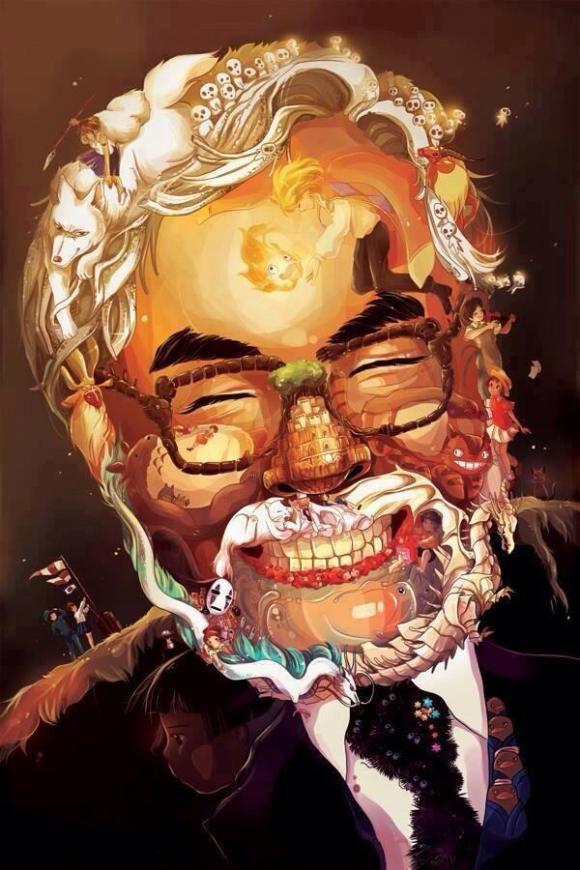 Portrait de Hayao Miyazaki réalisé avec des personnages de son univers