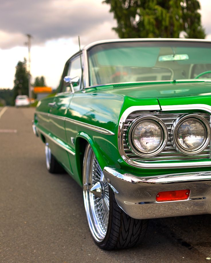 Too clean! Candy Green Candy Apple '64 Chevy Impala. Lookin like a green Jolly Rancher.