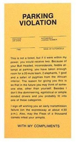 Fake Parking Tickets.   http://geekandhip.com/product/fake-parking-tickets-pad-of-25/