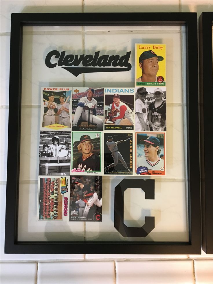 Baseball Cards Display - with family photos in a float frame
