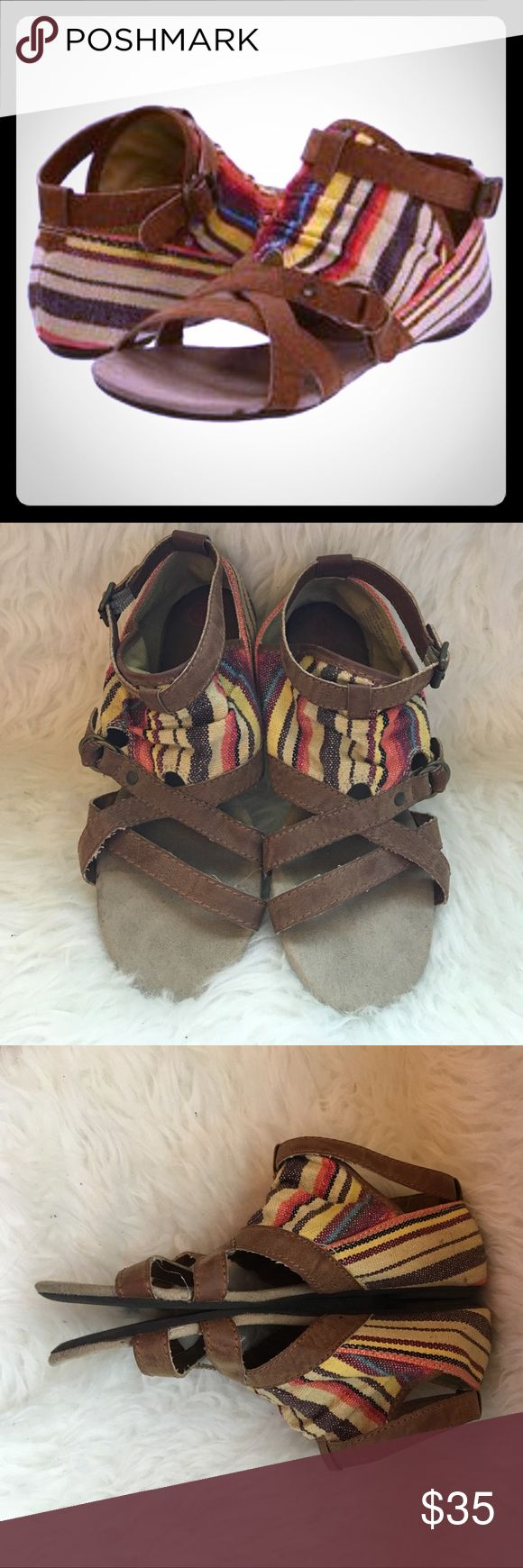 Big Buddha tapestry sandals Have fun in the sun with these Big Buddha tapestry sandals. These sandals would be great for a fun night on the town or to dance in at a concert. Only worn twice. Wear and tear is very minimal. On the sole by the toe is a little worn out. Big Buddha Shoes Sandals