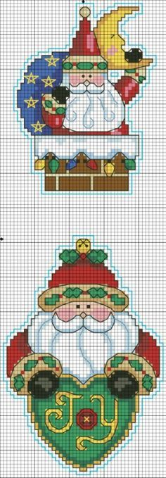 Cross-stitch Santa's... no color chat available, just use the pattern chart as your color guide.