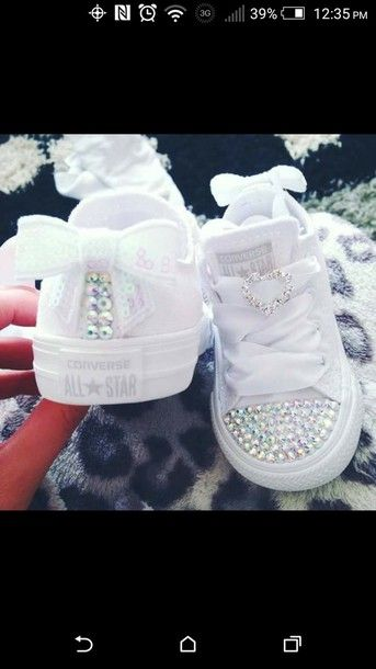 Shoes: converse, white, baby shoes, bow, bling, rhinestone converse, baby converse, chucks converse, girl, baby, rhinestones, chucks low, girls chucks, customized, pink, plain white, kids sneakers, converse allstar, kids shoes, white sneakers, sneakers, adidas, custom shoes - Wheretoget