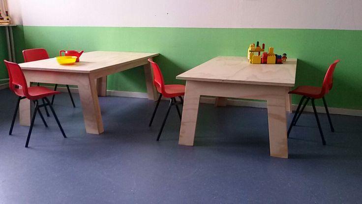 Maatwerk tafels voor crèche | kindertafel mutliplex | kindertafel underlayment | kinderdagverblijf tafels | VanStoerHout