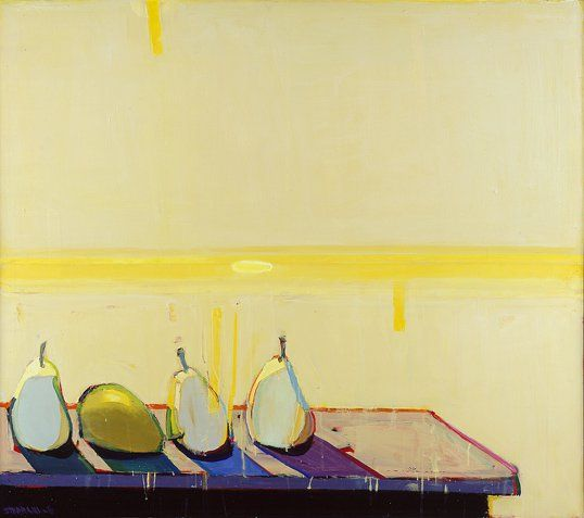 """Sunshine Pears"" by Raimonds Staprans In June the Crocker Art Museum will open a vibrant exhibition of works by Raimonds Staprans, a Latvian-born painter of landscapes, architectural elements and still lifes with ties to California's Bay Area figurative movement and pop art. With...  #mountaindemocrat #Prospecting #B12, #Printed"