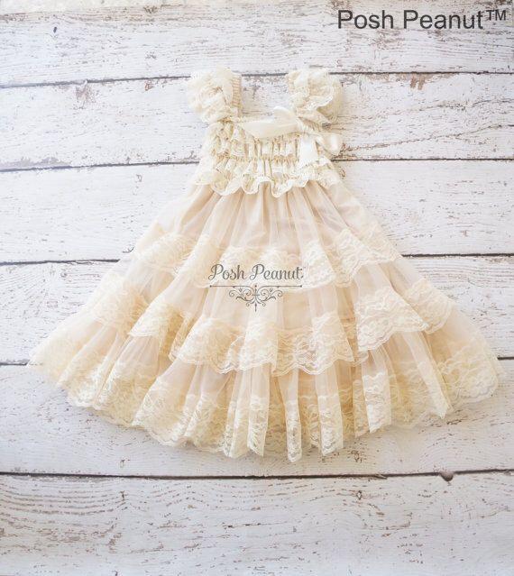 champagne flower girl dress, lace baby dress, rustic flower girl dress, country flower girl dress, lace girls dresses, flower girl dress by PoshPeanutKids on Etsy https://www.etsy.com/listing/245572661/champagne-flower-girl-dress-lace-baby