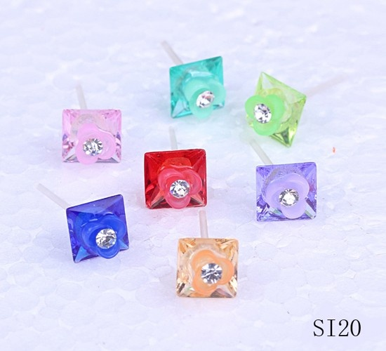 $1.59  11mm Mixed Color Square Flower Alloy Rhinestone Ear Stud #Eozy
