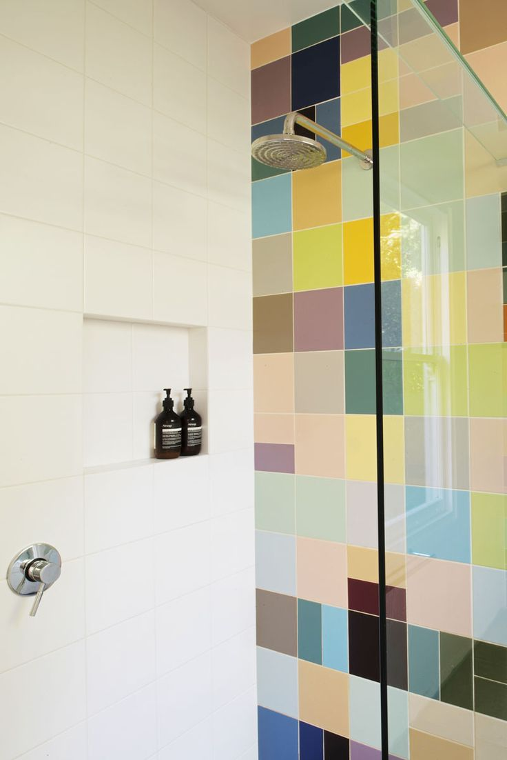Bathroom interior at the Kallista Victoria Project. Coloured tiles based on the Colour Field Movement in art from the Bauhaus Period specifically Johannes Itten