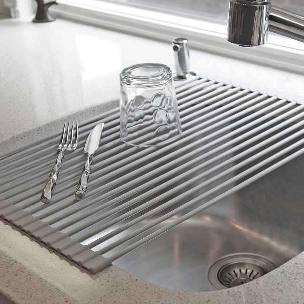 A roll-up dish drying rack . | 25 Ingenious Products That Will Save You So Much Space