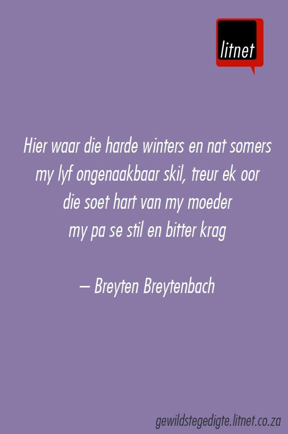 """""""'n brief van hulle vakansie"""" deur Breyten Breytenbach #afrikaans #gedigte…"""