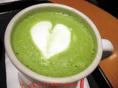 Green tea latte! I fell in love with this drink in South Korea.