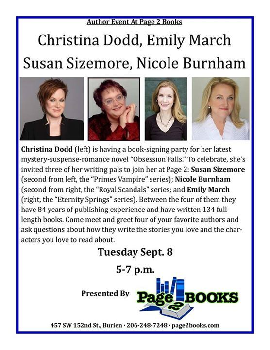 I'll be at Page 2 Books in Burien, Washington on September 8th for a book signing with my fellow authors Christina Dodd, Susan Sizemore and Nicole Burnham. If you're in the area, stop by!
