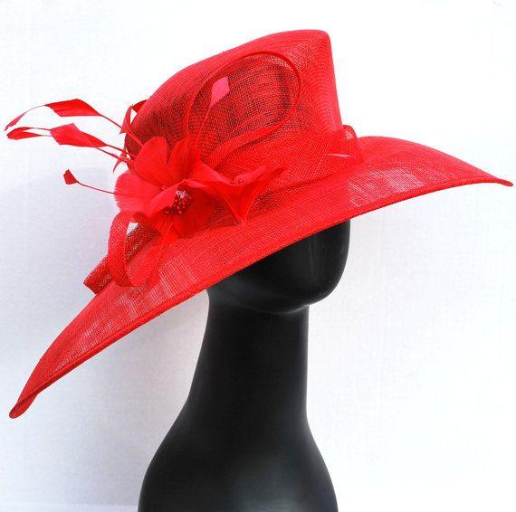 Derby de Red Hat, sombrero de la iglesia, Tea Party Hat, Red Hat, sombrero…
