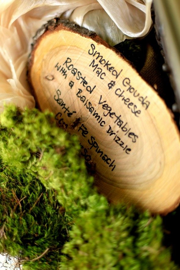Rustic Wedding Menu On Wood Slices.