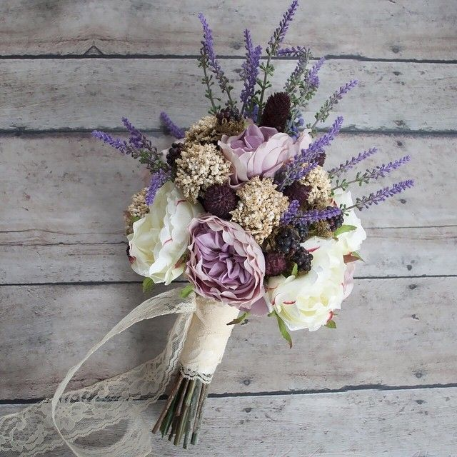 Need a last-minute wedding bouquet?  This one is ready to ship!  Bohemian wedding bouquet made by Kate Said Yes Weddings with garden roses lavender Queen Anne's lace berries and thistles.  Available to ship today!