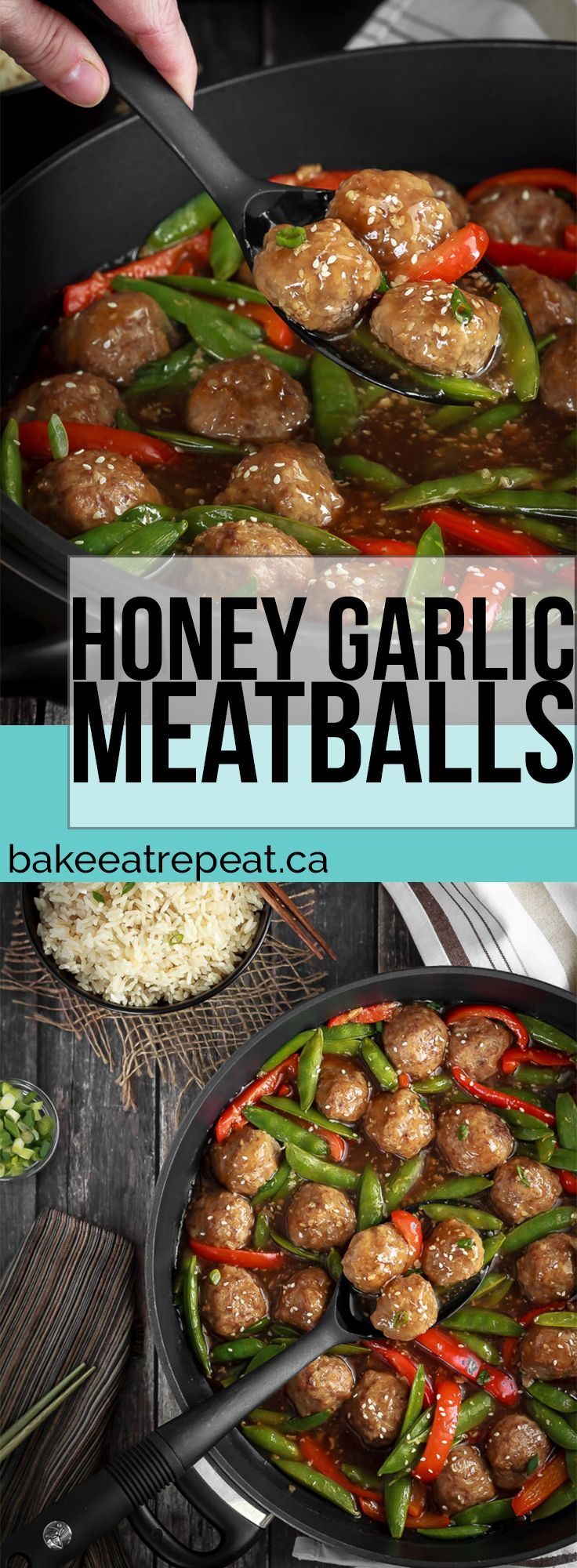 These honey garlic meatballs are easy to make and the whole family will love them! Serve over rice or quinoa for an easy and tasty meal! #meatballs #30minutemeal #supper