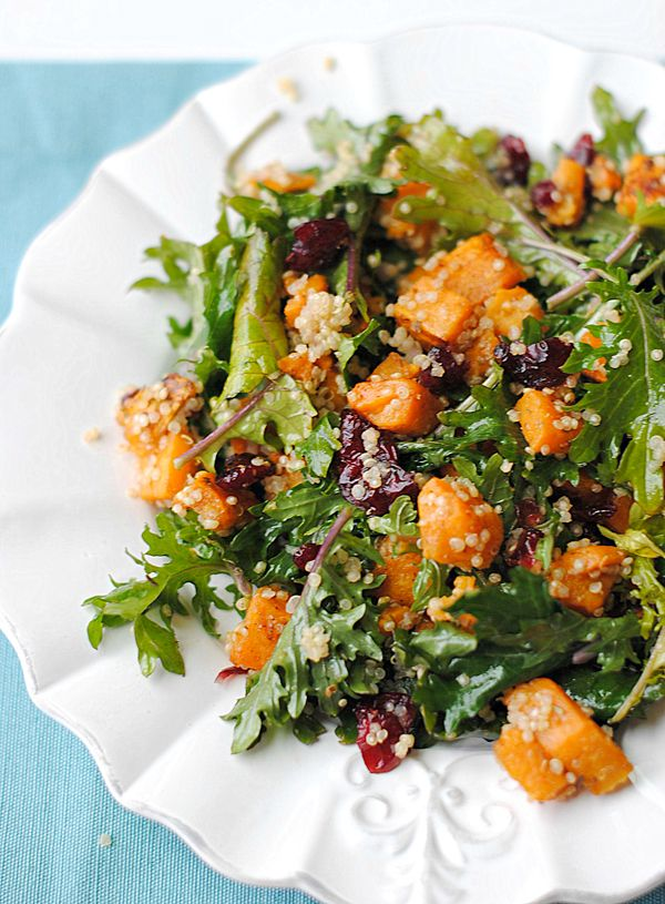 I will use with spinach instead .Roasted Sweet Potato, Quinoa and Kale Salad