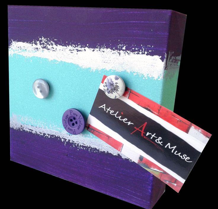 Toile aimantée, boutons aimantés,mauve, vert peppermint , cadre, peinture abstraite, aimants, oeuvre unique, personnalisée, décoration de la boutique AtelierArtetmuse sur Etsy