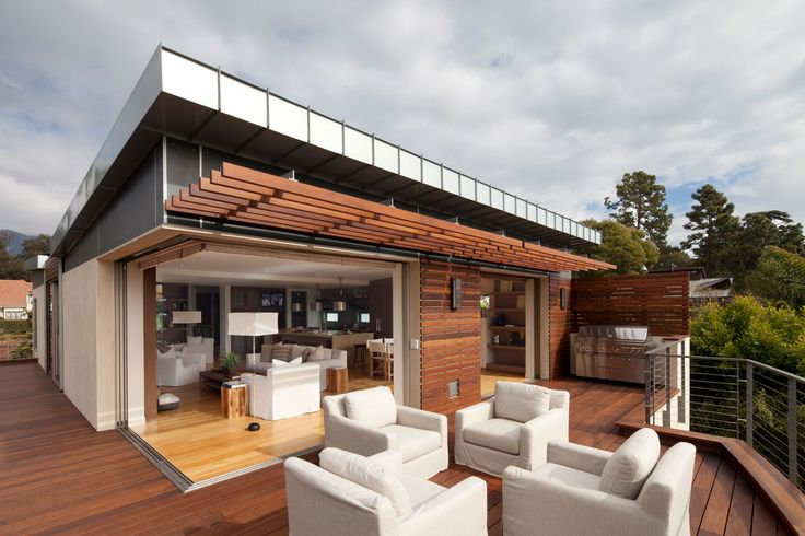 This modern two story residence was designed by Maienza-Wilson Interior Design + Architecture. Located in Montecito, a highly affluent place in Santa Barbara County California, USA, it's one of the first residences to receive LEED certification at the Platinum level. Sustainable features includes radiant floor heating, flat rooftops planted with drought-resistant grasses for passive cooling and photovoltaic solar panels hidden from view on the butterfly roof that provide enough electricity…