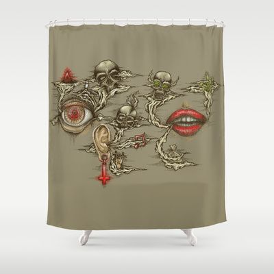 See Evil, Hear Evil, Suck Evil Shower Curtain by Cycoblast Artwork - $68.00