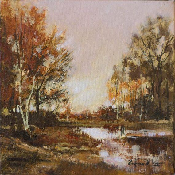 Landscape by Bogdan Goloyad 20x20 cm oil on by BogdanGoloyadArt