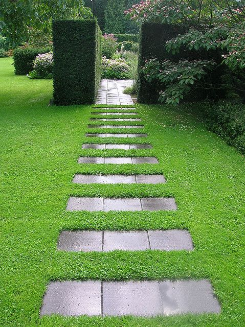 Formal landscape designed lawn path very well done - Amenagement jardin moderne ...