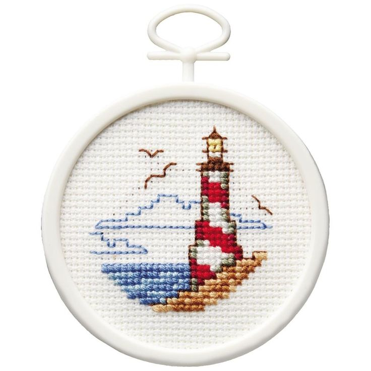 "Lighthouse Mini Counted Cross Stitch Kit-2.5"" Round 18 Count"
