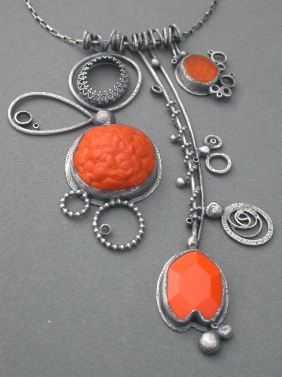 Silver and polymer clay pendant