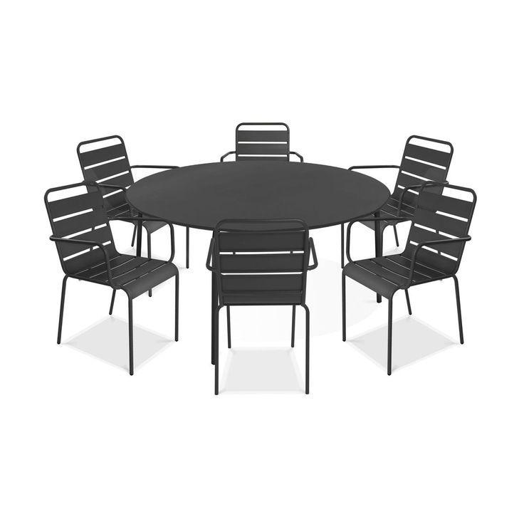 Table de jardin ronde et 6 fauteuils en métal gris, Palavas - #de ...