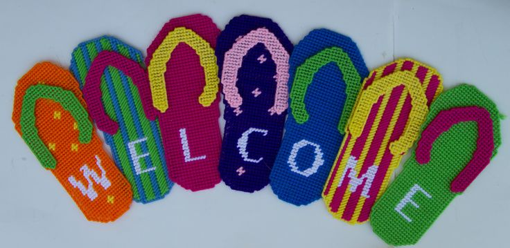 Plastic Canvas-Flip Flop Welcome