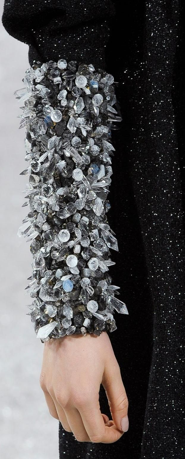 Crystal bead encrusted sleeve - couture embellishment; close up fashion details // Chanel