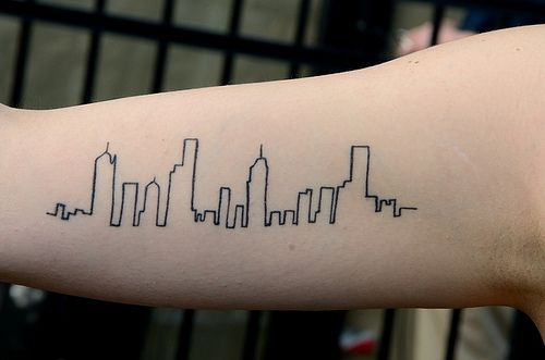City skyline tattoo....Would be cool if you did the Nashville skyline.